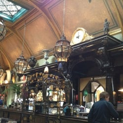 Bar with high vaulted ceiling