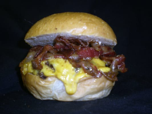 Juicy Burger Stuffed with Cheddar Cheese & topped with more Cheddar ...