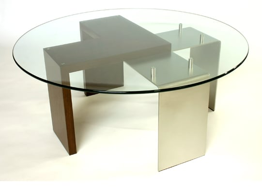 Coffee Table With Glass Top Walnut Legs And Stainless Steel Legs Yelp