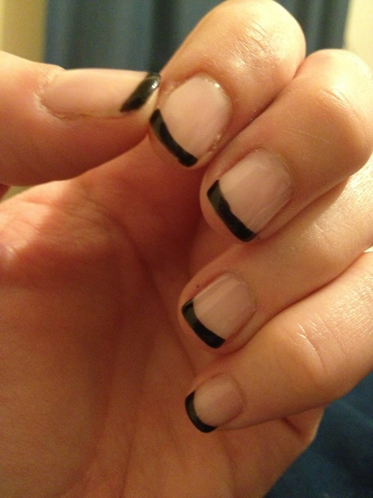 Black French tip gel manicure. | Yelp