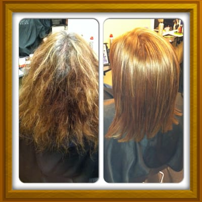 Hair Retouch : ... and after. Color retouch, Brazilian blowout and hair shaping! Yelp