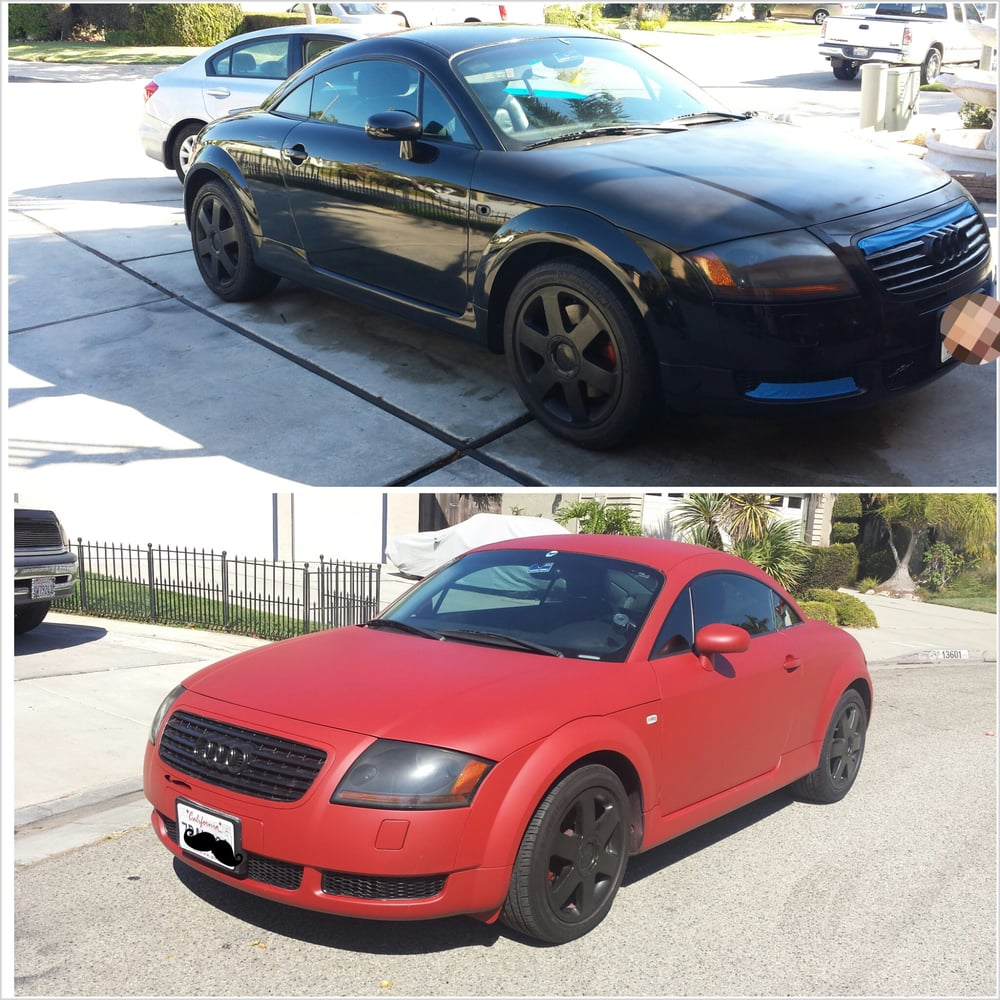 Plasti-dipped This Audi TT From Black To Matte Red