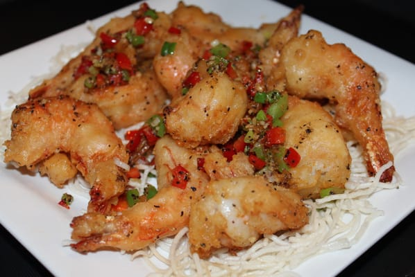 ... Shrimp, fresh made, sauteed with salt, green and red pepper. Not spicy