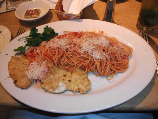 Crusted chicken romano with angel hair pasta. | Yelp