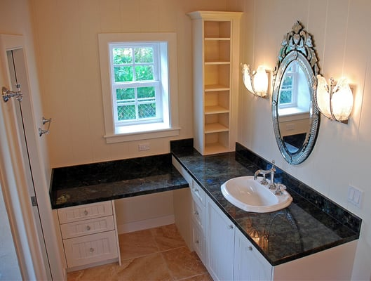 L shaped white antique finish vanity yelp for Bathroom cabinets yelp