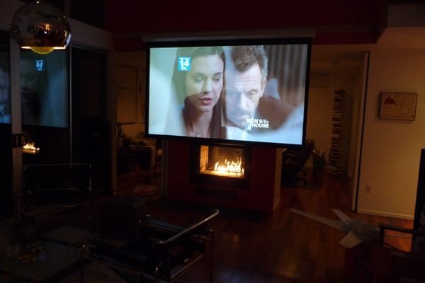 Home Theater 110 Inch Screen Over A Fireplace Yelp