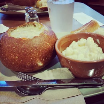 Cream with Chicken and Wild Rice bread bowl with Mac n Cheese.
