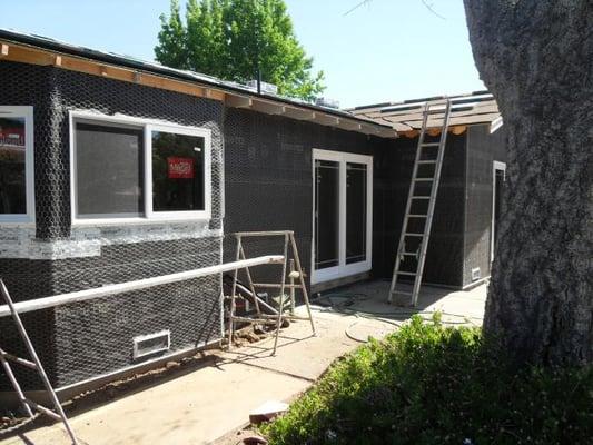 Backyard, Room Addition, Bay Window, Window Installation, Framing