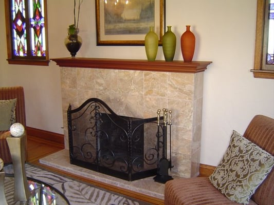 Fireplace Remodel Marble Tile Over Brick Yelp