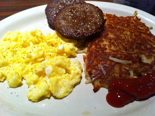 Scrambled eggs with hash browns and sausage patties | Yelp