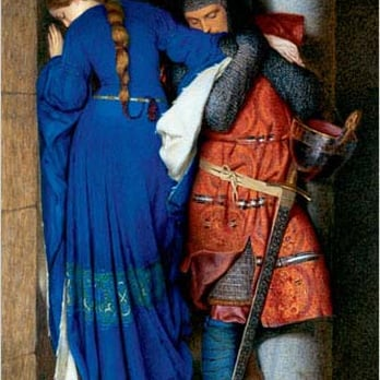 The Meeting on the Turret Stairs by Frederic William Burton (1816-1900)