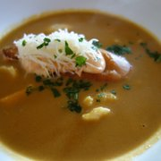 fish soup with rouille and emmental cheese, £6.50.
