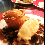Chef's best Venison pie with celeriac mash and mushroom sauce for an irresistible main
