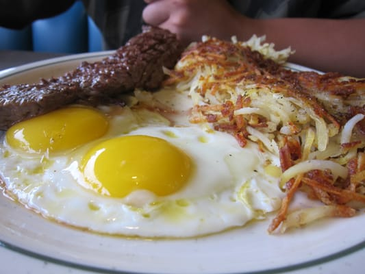 Weekend breakfast. Steak + sunny side up eggs + hash brown. | Yelp