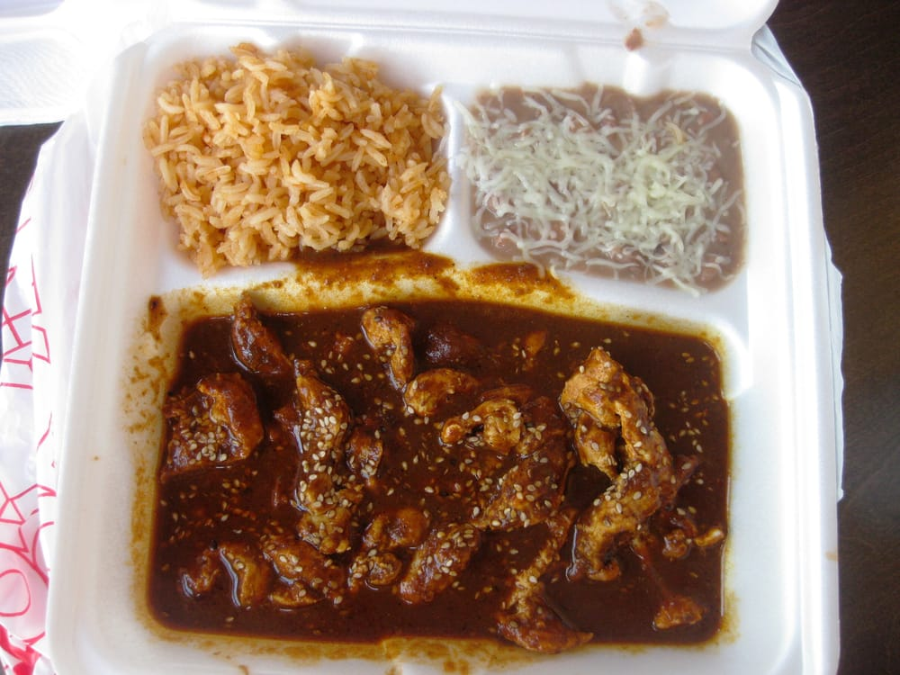 mole con pollo y arroz frijoles tortillas yelp