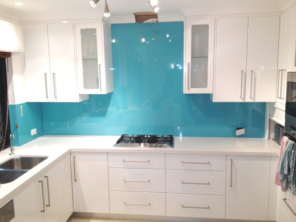 New Kitchen Renovation With New Coloured Glass Splashbacks