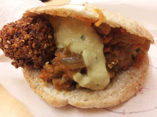 Falafel Sandwich (with cucumber salad, tomato eggplant, hummus and ...