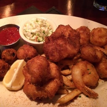 Fried platter shrimp scallops and cod for Mitchells fish market tampa