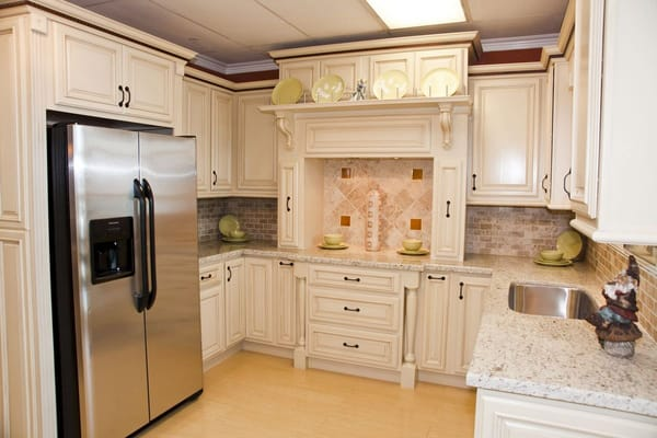 Cream glaze kitchen cabinets with built in fridge yelp - How to glaze kitchen cabinets cream ...