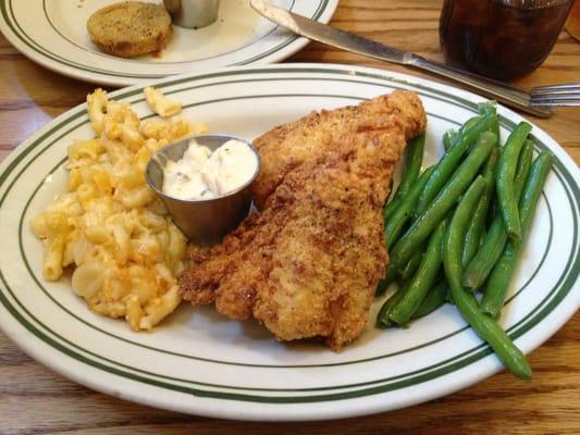 Fried catfish, Mac and cheese, green beans   Yelp