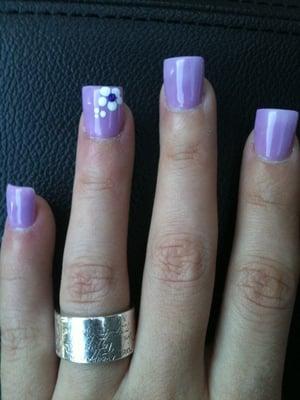 Lavender gel powder nails by Yen | Yelp