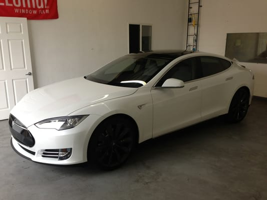 Tesla With Huper 70 Frt Windshield Tint Clear With 99 Uv