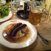 Awesome! 2 sausages, mashed potatoes and sauerkraut!