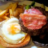 Burger with egg & streaky bacon £8.45
