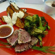 Cold seared ahi, broccoli salad, potatoes with sauce