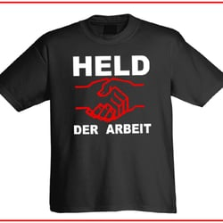 Held der Arbeit T-Shirt by Mondos Arts
