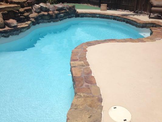 Flagstone Pool Coping Surrounding Salt Water Swimming Pool