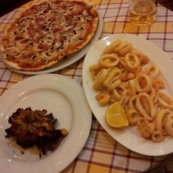 Pizza with sausage, mushroom, cheese & sauce plus fried calamari & shrimp.