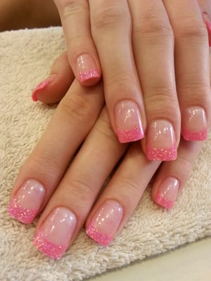 Barbie Nails! Fancy pink glitter tips & Orly Rose Colored Glasses