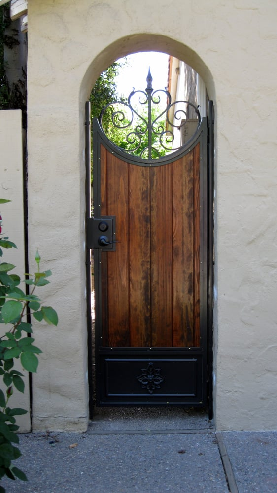 Wrought Iron Gate With Wood Inset And Embellishments Yelp