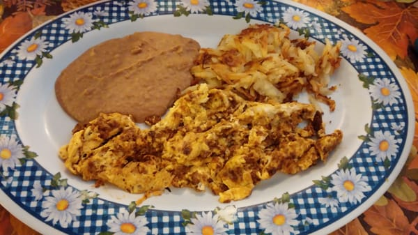 Chorizo & egg plate with hash browns, beans and tortilla. (#6 under ...