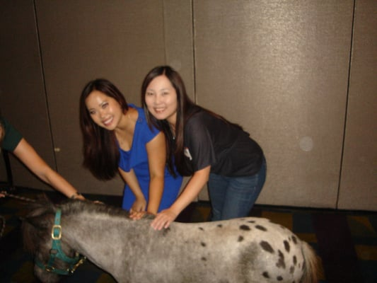 Han L. and I petting the miniature pony! =D
