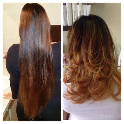 Before And After Color Balayage Ombr 233 Haircut And Blow