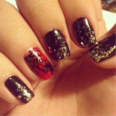 Halloween themed nails. Shellac natural nails. Design by Maryann! Ask