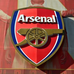Club badge at the Emirates stadium.