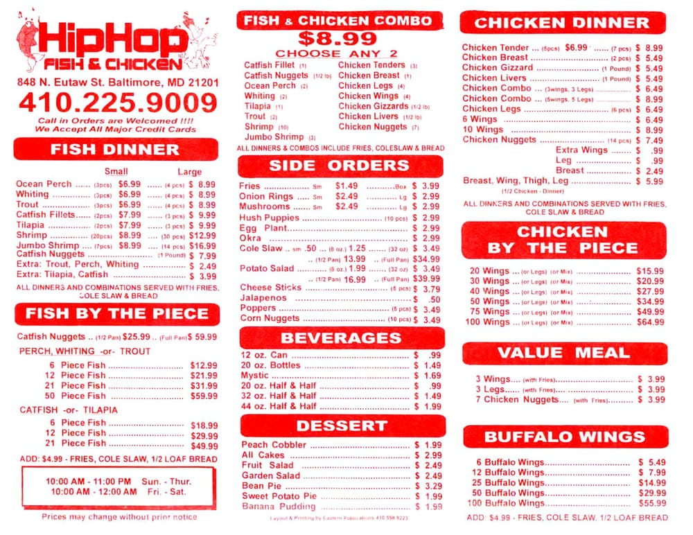Hip hop fish chicken menu yelp for J j fish menu