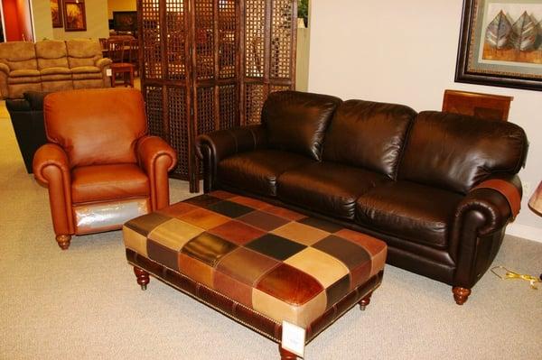Natuzzi Leather sofa Chair and ottoman at Slumberland