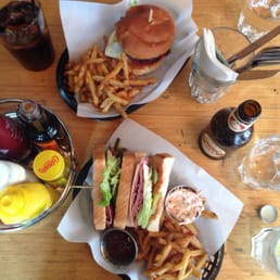 New York club sandwich and chorizo burger