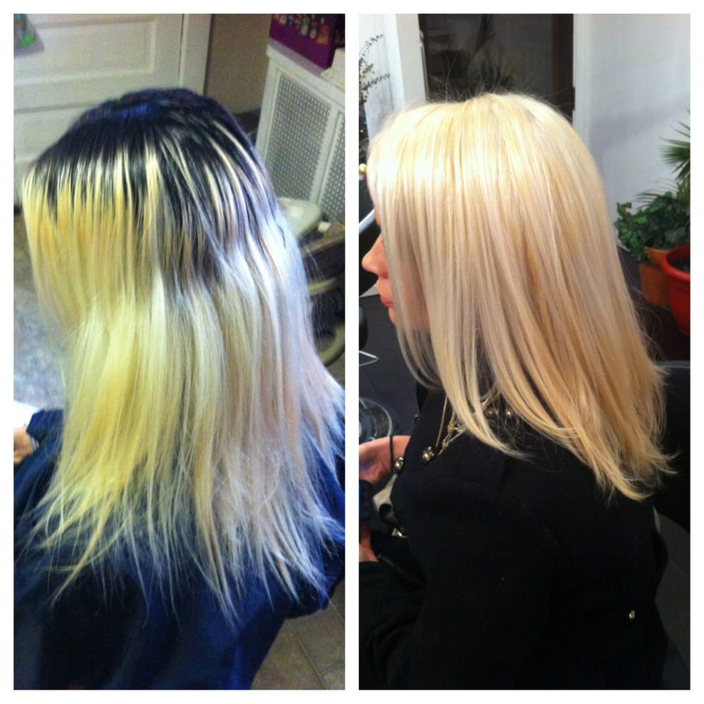 A Before And After Of A Color Correction Service By One Of Volt Hair Salon3