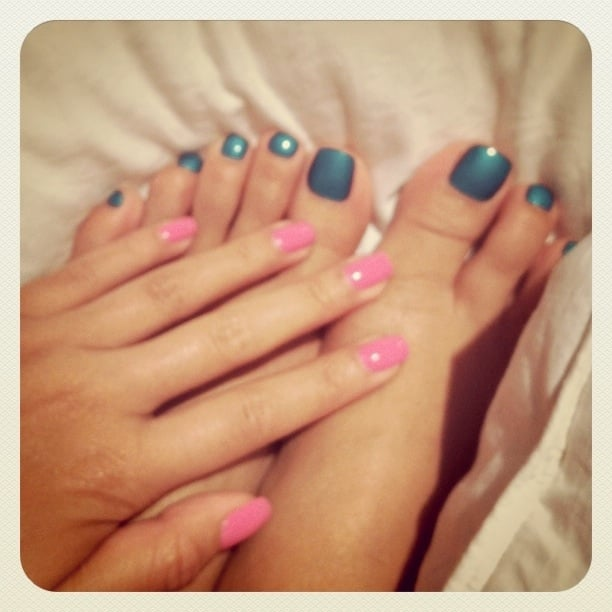 Teal toes + pink shellac nails | Yelp