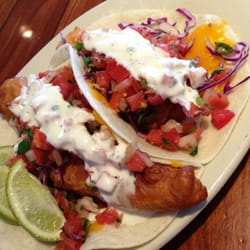 Fried fish taco and fried oyster tacos. by Kari C.