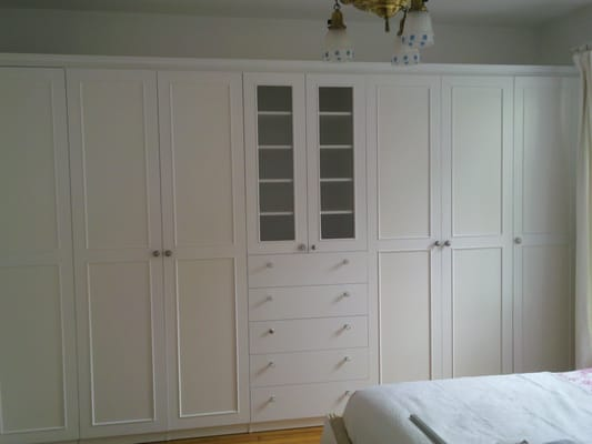 Master Bedroom Wall To Wall Wardrobe With White Painted