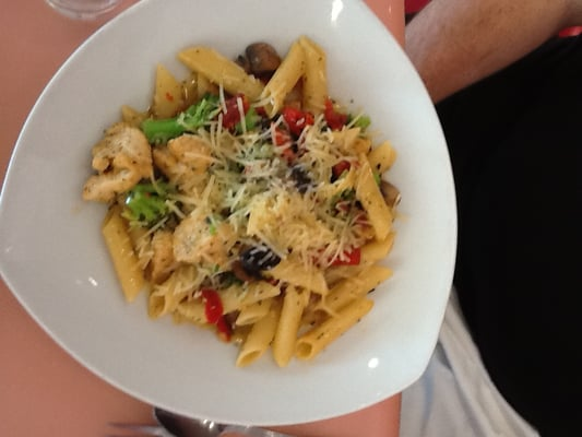 Penne Pasta w/ Chicken, Broccoli, & Sun-Dried Tomatoes- tossed in a white wine sauce w/ fresh ...