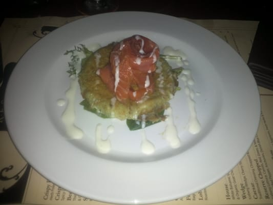 Scottish Smoked Salmon (Herb Potato Cake, Creme Fraiche Sauce & Baby ...