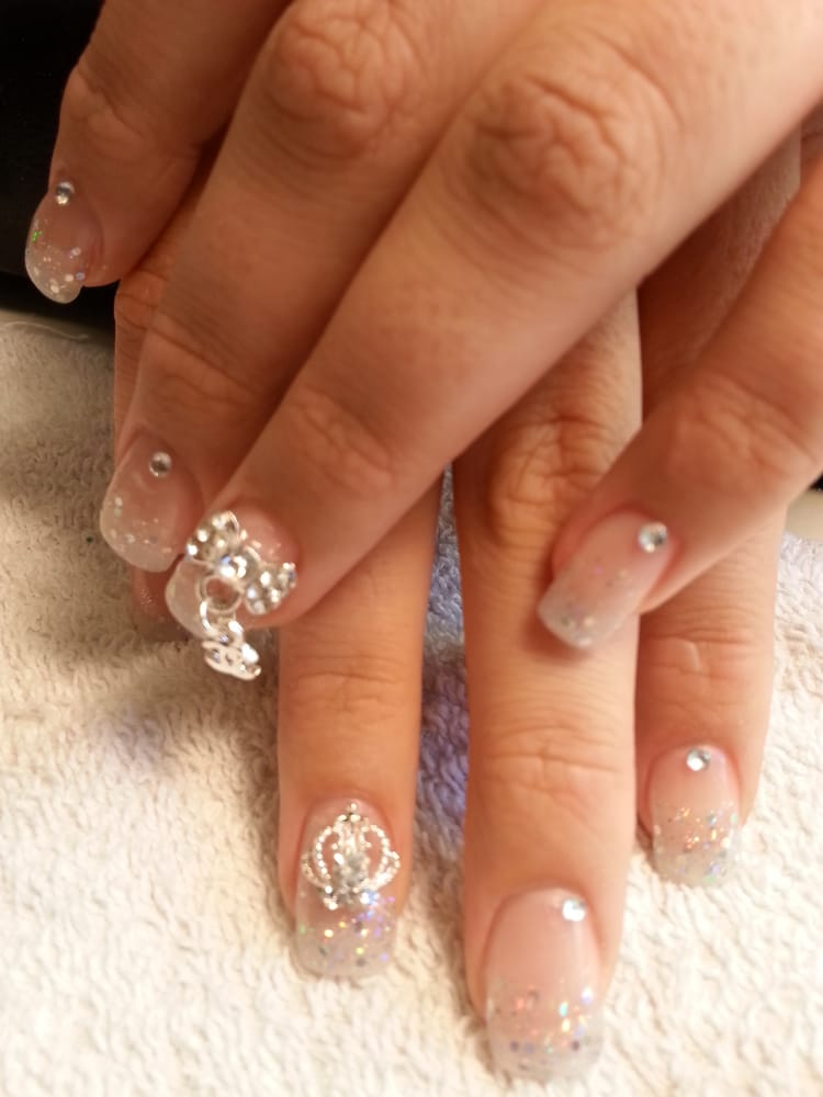 Nail Art For Nude Matte And Rhinestones Acrylic Nails - lustdoctor.com