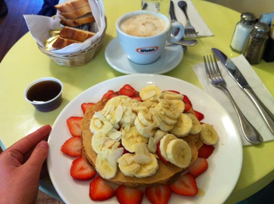 Whole wheat pancakes with fruit and cappuccino - HUGE and yummy ...